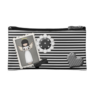 Black and White Stripes,  Angel and Embellishments Cosmetics Bags