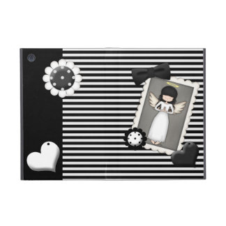 Black and White Stripes,  Angel and Embellishments Cover For iPad Mini
