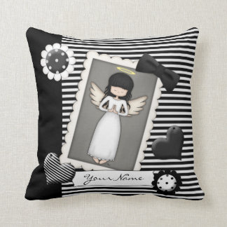 Black and White Stripes,  Angel and Embellishments Cushion