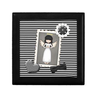 Black and White Stripes,  Angel and Embellishments Gift Box