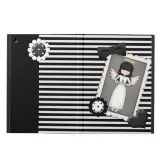 Black and White Stripes,  Angel and Embellishments iPad Air Cover