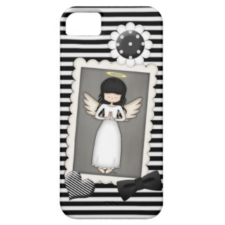 Black and White Stripes,  Angel and Embellishments iPhone 5 Case