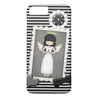 Black and White Stripes,  Angel and Embellishments iPhone 8 Plus/7 Plus Case