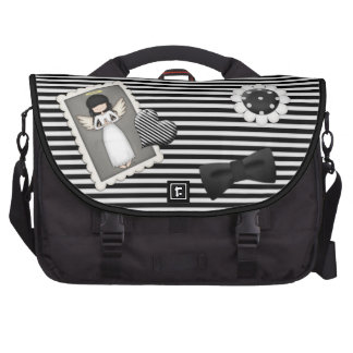 Black and White Stripes,  Angel and Embellishments Laptop Computer Bag