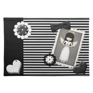Black and White Stripes,  Angel and Embellishments Placemat