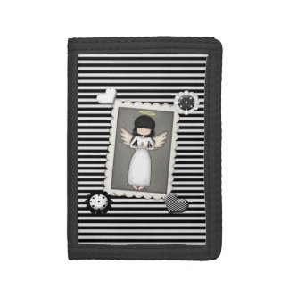 Black and White Stripes,  Angel and Embellishments Tri-fold Wallet