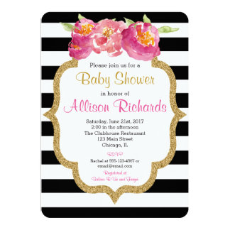 black and white stripes baby shower invitation