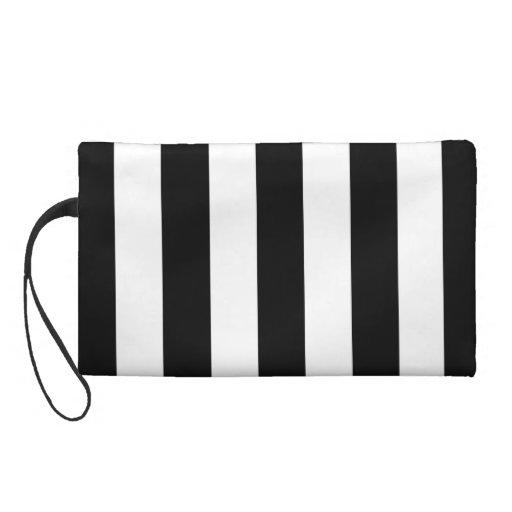 Black and White Stripes Wristlet Purse