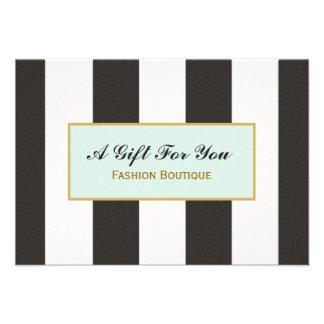Black and White Stripes Boutique Gift Certificate Invite