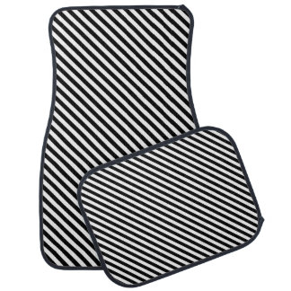 Black and White Stripes Car Mat