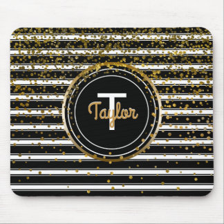 Black and White Stripes | Chic Gold Glam Confetti Mouse Mat
