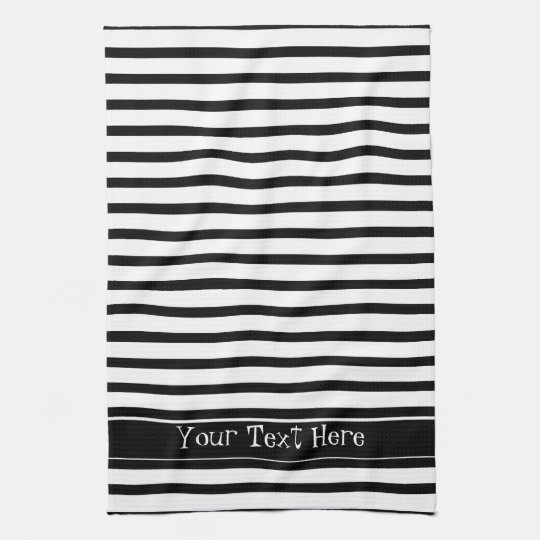 Black and White Stripes Customisable Tea Towel