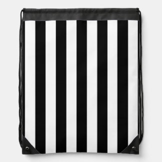 Black and White Stripes Drawstring Bags