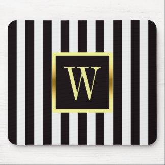Black and White Stripes Faux Gold Frame Monogram Mouse Mat