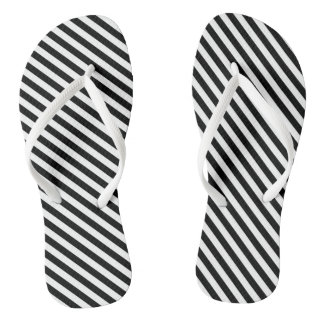 Black and White Stripes Flip Flops