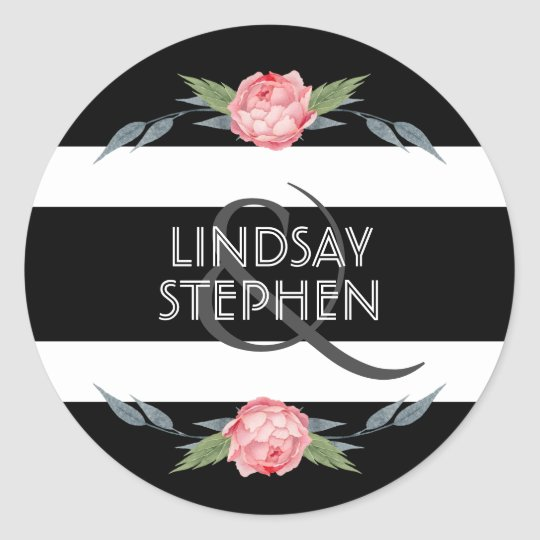 Black and White Stripes Floral Wedding Classic Round