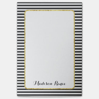 Black and White Stripes Gold Foil Frame Monogram Post-it Notes