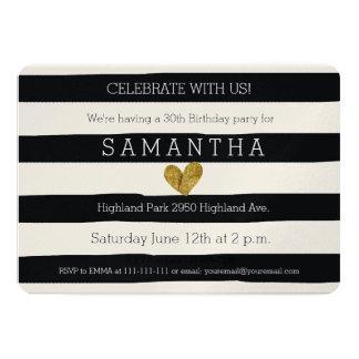 Black and White Stripes Gold Heart birthday 13 Cm X 18 Cm Invitation Card