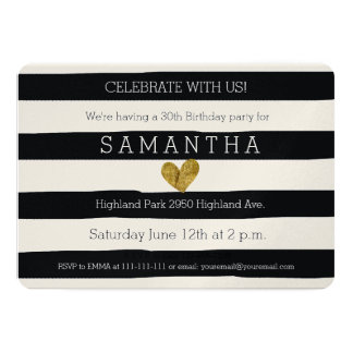 Black and White Stripes Gold Heart birthday Card
