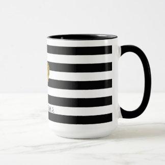 Black and White Stripes Gold Heart Mug