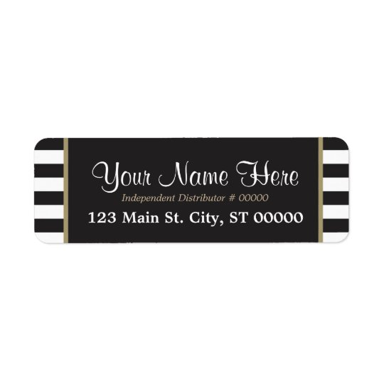 Black and White Stripes - Gold - Labels