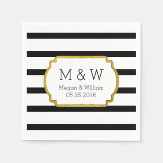 Black and White Stripes Gold Wedding Napkins Disposable Napkins