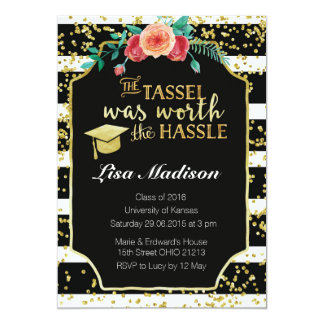 Black and White Stripes graduation Invitation