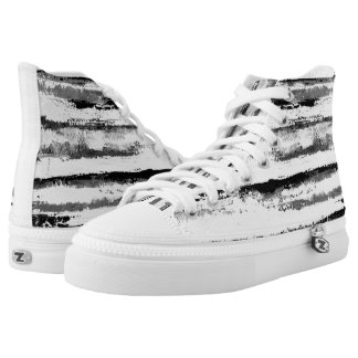Black and White Stripes High Tops Snow Tiger Printed Shoes