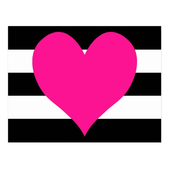 Black and White Stripes Hot Pink Heart Postcard