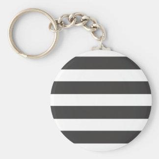 Black and White Stripes Keychain/Keyring Basic Round Button Key Ring