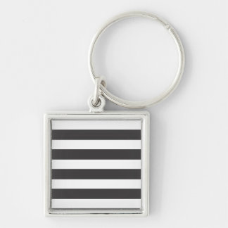 Black and White Stripes Keychain/Keyring Silver-Colored Square Key Ring
