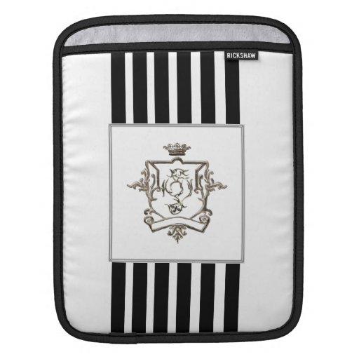 Black and white stripes logo crest ipad sleeves