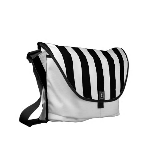 Black and White Stripes Messenger Bags