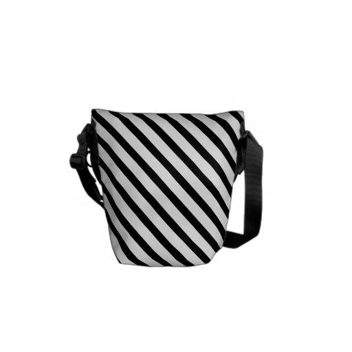 Black and White Stripes Messenger Bag