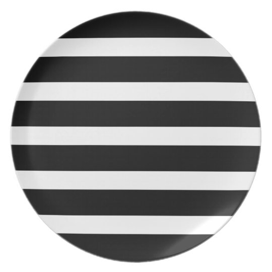 Black And White Stripes Modern Geometric Pattern Plate