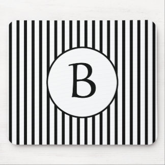 Black and White Stripes Monogram Mouse Pad