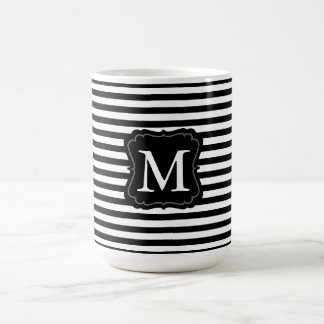 Black and White Stripes Monogram Basic White Mug