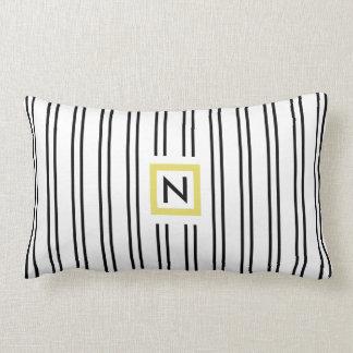 Black and White Stripes Monogram Polyester Pillow