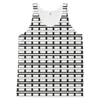 Black and White Stripes/Pattern All-Over Print Tank Top