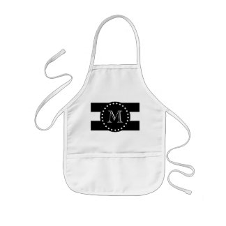 Black and White Stripes Pattern, Black Monogram Kids Apron