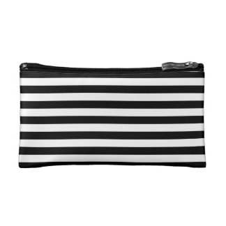 Black and White Stripes Pattern Cosmetic Bag