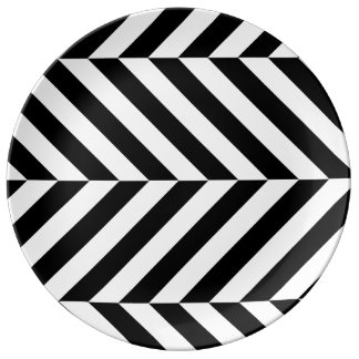 Black and white stripes pattern porcelain plates