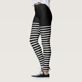 Black and White Stripes Pattern Striped Leggings