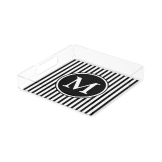 Black And White Stripes Pattern With Monogram Acrylic Tray
