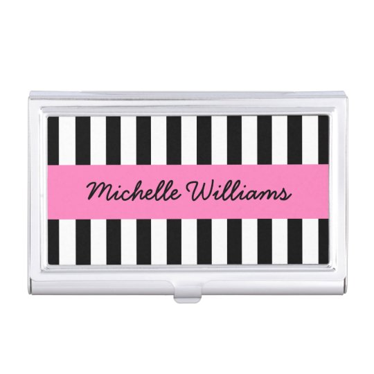 Black and white stripes pink personalised name case for business cards