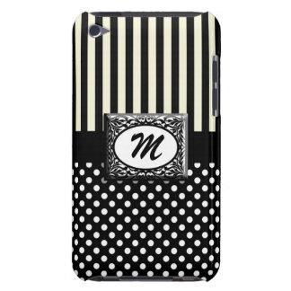 Black and White Stripes/Polkadots Custom Monogram iPod Case-Mate Cases