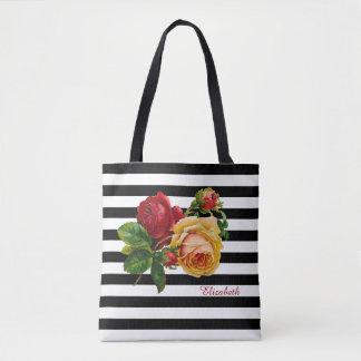 Black and White Stripes Roses Custom Fashion Tote Bag
