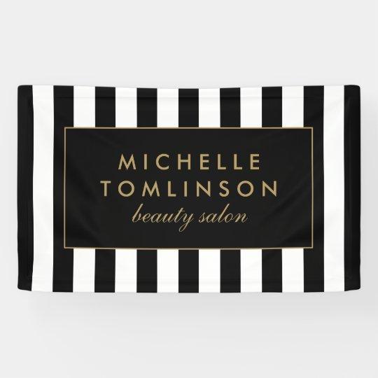 Black and White Stripes Salon Banner