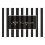 Black and White Stripes Salon Gift Certificate