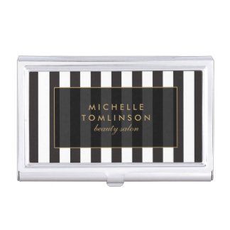 Black and White Stripes Salon III Card Case